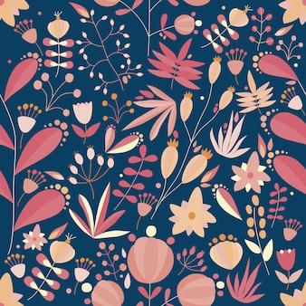 Nahtloses blumenmuster mit blumen und pflanzen im dunklen hintergrund. tropische illustration.