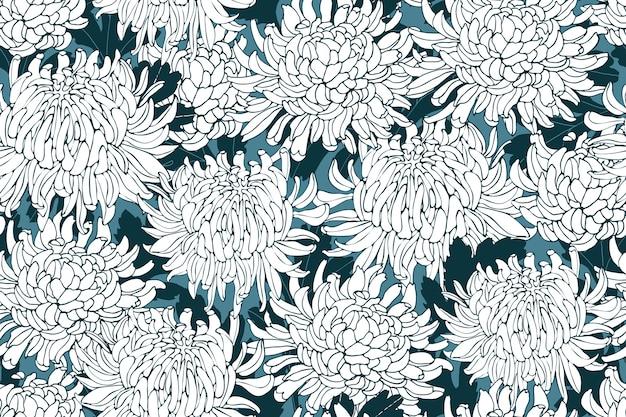 Nahtloses blumenmuster mit chrysanthemen. weiße blüten mit tiefgrünen blättern