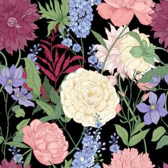 Nahtloses blumenmuster mit eleganten blumen und blühenden pflanzen, die in der floristikhand gezeichnet auf schwarzem hintergrund verwendet werden