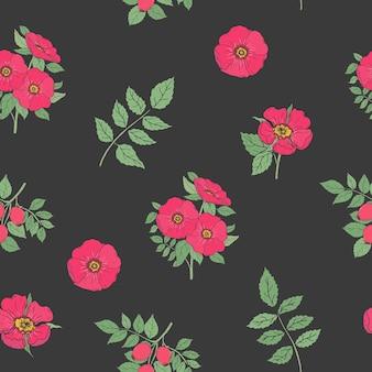 Nahtloses blumenmuster mit eleganten hunderosenblumen, -stielen und -blättern, die im retro-stil auf schwarz gezeichnet werden