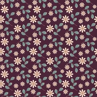 Nahtloses blumenmuster mit gekritzelblumen und -blättern