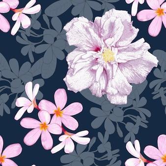Nahtloses blumenmuster mit hibiskus- und frangipani-blumenhintergrund.