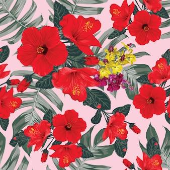 Nahtloses blumenmuster mit hibiskus- und orchideenblumen auf lokalisiertem grauem hintergrund. illustration hand gezeichnet.
