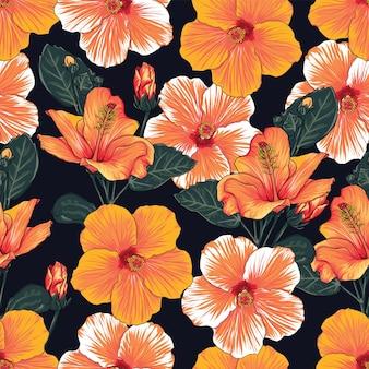 Nahtloses blumenmuster mit hintergrundillustration der hibiskusblumen