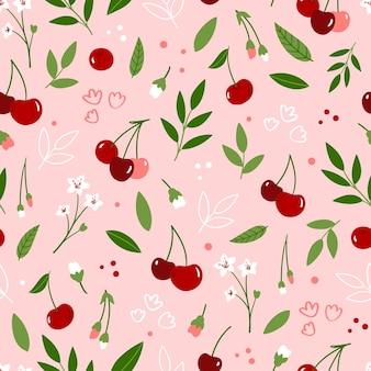 Nahtloses blumenmuster mit kirschblüten und blättern