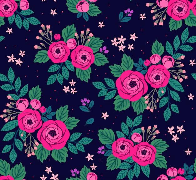 Nahtloses blumenmuster mit rosa rosen. blumen im vintage-stil.