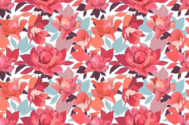 Nahtloses blumenmuster mit rosen. zarte gartenblumen und -blätter in einem warmen farbschema auf einem weißen hintergrund.