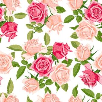 Nahtloses blumenmuster mit rosen.