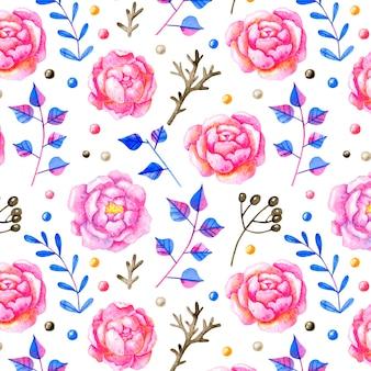 Nahtloses blumenmuster mit rosenblumen im karikaturstil