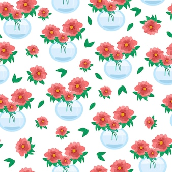 Nahtloses blumenmuster mit roten mohnblumenblumen in vasen schöne blumenvektorillustration