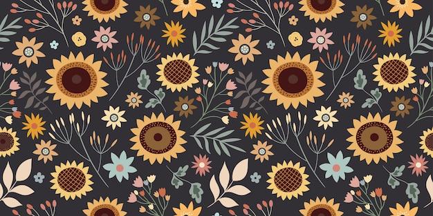 Nahtloses blumenmuster mit sonnenblumen und verschiedenen pflanzen