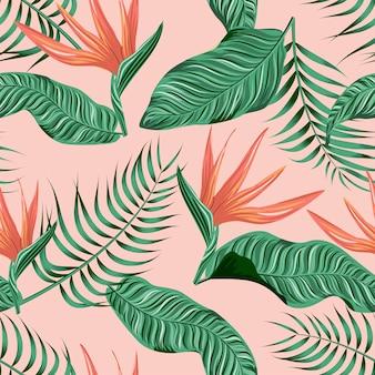Nahtloses blumenmuster mit tropischen blättern, tropischer hintergrund