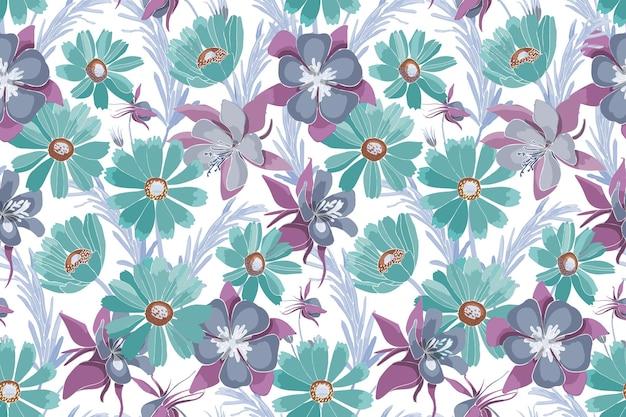 Nahtloses blumenmuster mit türkisfarbenen und lila blüten. gaillardia aquilegia, columbine blumen