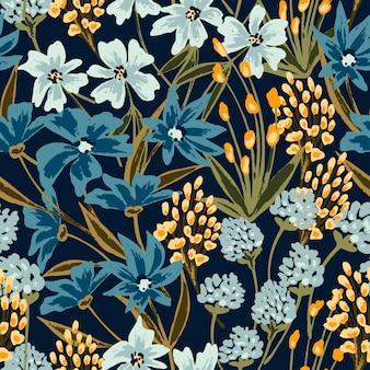 Nahtloses blumenmuster mit wild blühenden blumen und pflanzen.