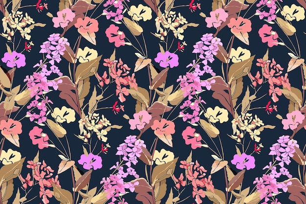 Nahtloses blumenmuster mit wilden blumen und kräutern. rosa, gelbe, lila blüten.