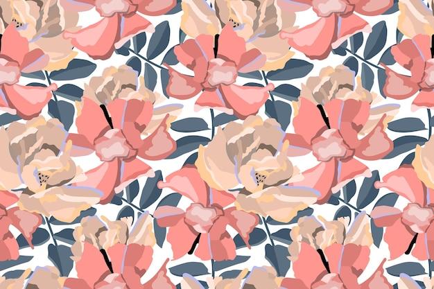 Nahtloses blumenmuster. rosa beige blumen blau verlassen