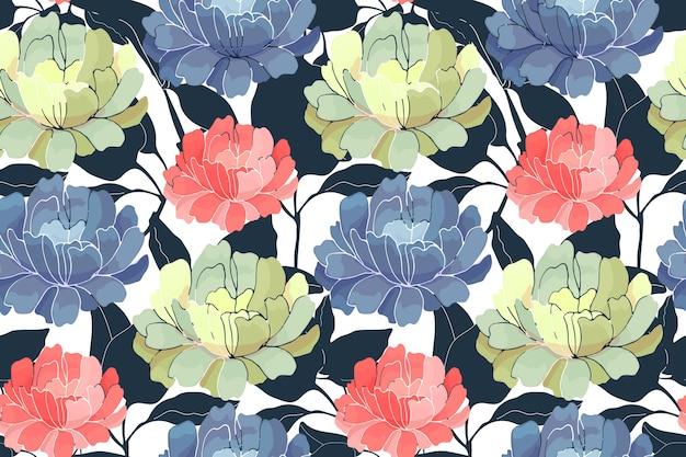 Nahtloses blumenmuster. rosa, gelbe, blaue gartenblumen mit dunkelblauen zweigen und blättern
