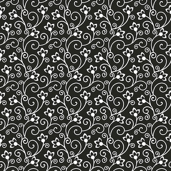 Nahtloses blumenmuster schwarzweiss