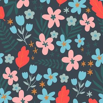 Nahtloses blumenmuster vektorblumenmuster in trendfarbendesign mit einfachen flachen farben