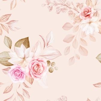 Nahtloses blumenmuster von braunen und pfirsichfarbenen aquarellrosen und wildblumenarrangements