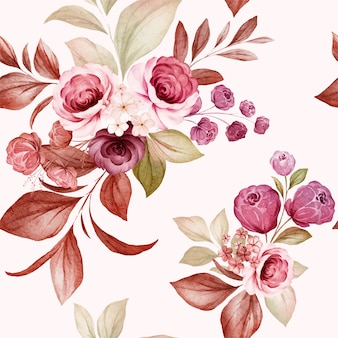 Nahtloses blumenmuster von burgunder- und pfirsichaquarellrosen und wildblumenarrangements