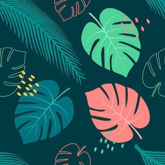 Nahtloses blumenmusterdesign der tropischen blätter