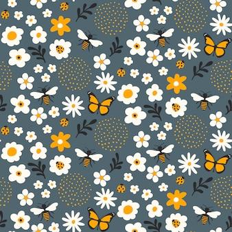 Nahtloses blumenmusterdesign mit bienen und wanzen