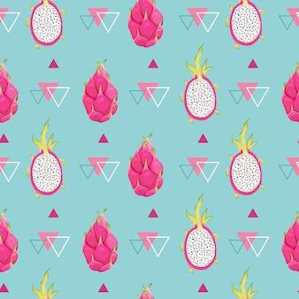 Nahtloses botanisches muster mit drachenfrüchten, pitaya-hintergrund. handgezeichnete vektorillustration im aquarellstil für romantische sommerabdeckung, tropische tapete, vintage-textur