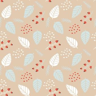Nahtloses botanisches muster mit pflanzenelementen zum verpacken von weihnachtsgeschenken