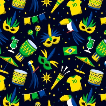 Nahtloses brasilianisches karnevalsmuster mit fußballhemden und -maske
