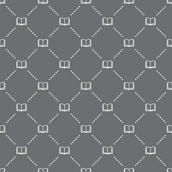 Nahtloses buchmuster auf dunklem hintergrund. buchsymbol kreatives design. kann für tapeten, webseitenhintergrund, textilien, druck-ui/ux verwendet werden