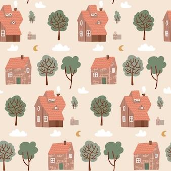 Nahtloses buntes pastellmuster mit häusern und grünen bäumen. hausgekritzelmuster für kinderstoff, textil, kinderzimmertapete. wiederholte flache vektorillustration des dorfes mit verschiedenen kleinen gebäuden