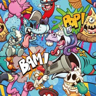 Nahtloses cartoon-muster mit verschiedenen zeichen