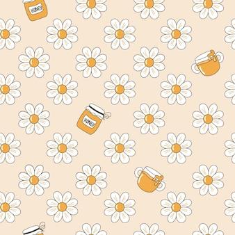 Nahtloses cartoon-muster von gänseblümchen und honiggläsern.