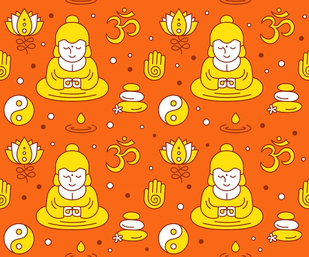 Nahtloses clolor muster der buddhistischen religiösen heiligen symbole. moderne flache linie stilikone desgin. esoterik, buddhismus, thai, gott, yoga, zen-muster