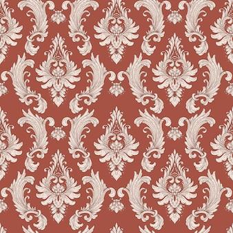 Nahtloses damastmusterelement. vektor klassischer luxus altmodische damastverzierung, königliche viktorianische nahtlose beschaffenheit für tapeten, textil, verpackung. vintage exquisite blumenbarockschablone.