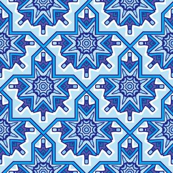 Nahtloses dekoratives muster des abstrakten damastmandala für gewebe. vektor blaue persische fliese