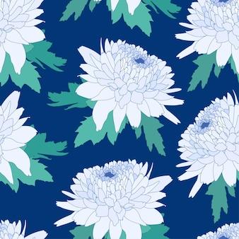 Nahtloses dekoratives muster mit hellblauer chrysantheme crown daisy wiederholter hintergrund