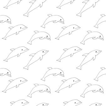 Nahtloses delphinmuster, vektorillustration, hand gezeichnet