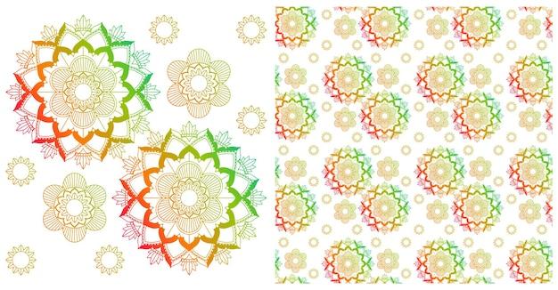 Nahtloses design mit buntem mandala-muster
