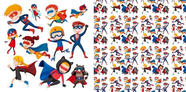 Nahtloses design mit superheldfliegen