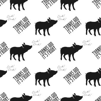 Nahtloses designkonzept mit schwein und zitat