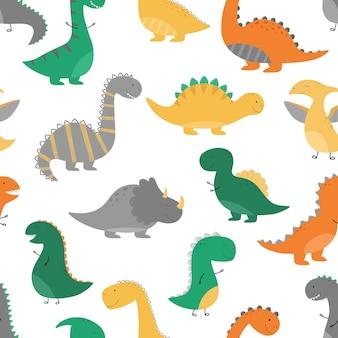 Nahtloses dino-muster lustige dinosaurier im cartoon-stil
