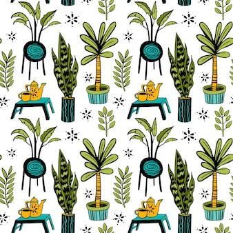 Nahtloses doodle-muster vektor-hauspflanzen mit tee-set auf einem ständer blumen verziert