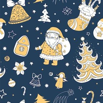 Nahtloses dreifarbiges weihnachtsmuster von weihnachtsmann- und weihnachtsattributen.
