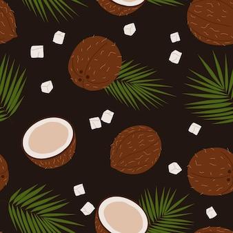 Nahtloses dunkles muster mit kokosnüssen und palmblättern