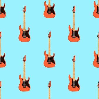 Nahtloses e-gitarren-muster auf hellblauem hintergrund