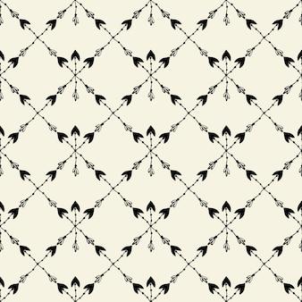 Nahtloses ethnisches muster des vektors mit pfeil. nahtloses muster in der art des amerikanischen ureinwohners. stammes- pfeile auf weißem hintergrund.