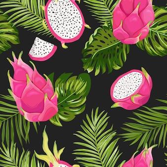 Nahtloses exotisches aquarell drachenfruchtmuster, pitaya-hintergrund mit palmblättern im aquarellstil. vektor-illustration