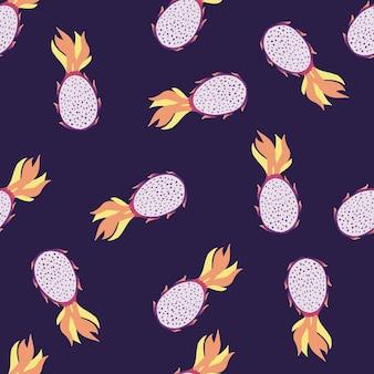 Nahtloses exotisches fruchtmuster mit pitaya zufälliger verzierung. dunkelblauer dunkler hintergrund. perfekt für stoff, textildruck, verpackung